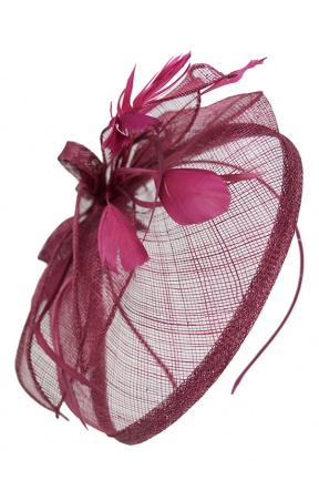 Cranberry Pink Sinamay Hat Fascinator With Aliceband
